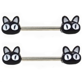 PAIR - Black/White Alley Cat Nipple Barbells 14G 9/16""