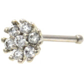 Clear CZ Cluster Flower Nose Ring 20G
