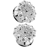 "Clear Crystal Floral Filigree Plugs (2g-5/8"")"