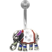 Fancy Elephant Silver-Tone Belly Ring