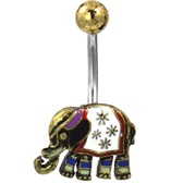 Fancy Elephant Gold-Tone Belly Ring