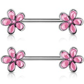 PAIR - Pink Crystal Accent Flowers Nipple Barbells