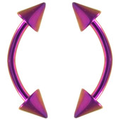 PAIR- Double Spike Purple Titanium IP Curved Barbells