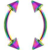 PAIR- Double Spike Rainbow Titanium IP Curved Barbells