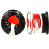 "Trippy Red Mushroom Pyrex Glass Plugs (2g-5/8"")"