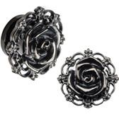 "Filigree Rose Screw-Fit Black PVD Steel Plugs (6g-1/2"")"