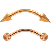 PAIR - (Balls/Spikes) Rose Gold-Tone IP Curved Barbells