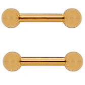 PAIR - 14G Rose Gold IP Steel Ball End Barbells