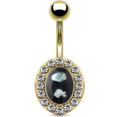 Oval Shell w/Crystal Accents Gold-Tone Belly Ring