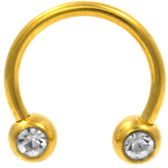 PAIR -  Front Facing Gem Gold-Tone Horseshoe Rings
