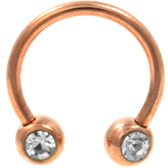 PAIR-Front Facing Gem Rose Gold-IP Horseshoe Rings