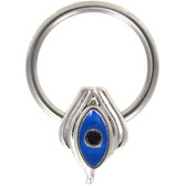 Blue Evil Eye Steel CBR Hoop 16G 3/8""