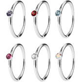6-Pack Set Nose Ring Hoops w/Tiny Accents