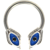 Blue Evil Eye Horseshoe Ring Circular Barbell