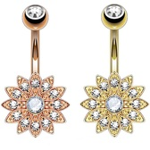 2-Pack Set Crystal Accent Paved Flower Belly Rings