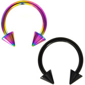 PAIR - Black & Rainbow Spike End Horseshoe Rings