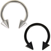 PAIR - Black & Steel Spike End Horseshoe Rings