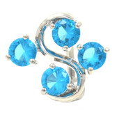 Aqua 4 Gem Vine Reverse Belly Ring