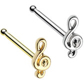 Treble Clef Music Note Nose Ring Stud 20G