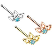 Sparkling Lotus Top Nose Ring Stud 20G