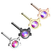 Cat Face Iridescent Accent Nose Ring Stud 20G
