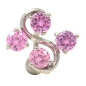 Pink 4 Gem Vine Reverse Belly Ring
