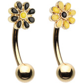 2-Pack Set Daisy Flower Curved Eyebrow Barbells