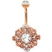 Ornate Mandala Rose Gold-Tone Steel Belly Ring