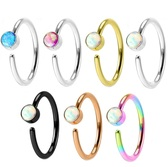Synthetic Opal Bendable Steel Nose Ring Hoop