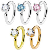 Single CZ Gem Bendable Cartilage Hoop Earring 16G