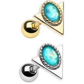 Ornate Triangle Sparkle Cartilage Stud Earring 16g