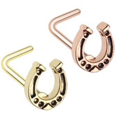 Lucky Horseshoe L Shaped Nose Ring 20G