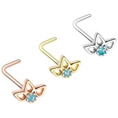 Sparkling Lotus Top L Shaped Nose Ring 20G