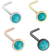 Synthetic Turquoise Top L Shaped Nose Ring 20G