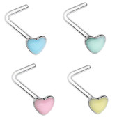 Glow in the Dark Heart L Shaped Nose Ring 20G