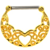 PAIR- Heart Center Filigree Gold-Tone Nipple Clickers