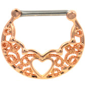 PAIR - Heart Center Filigree Rose Gold Nipple Clickers