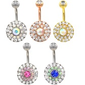 Triple Tier Shield of Bling Belly Ring