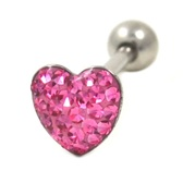 Pink Crystal Paved Heart Tongue Ring Barbell 14g 5/8""