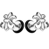 Fleur De Lis Steel Fake Plug Earrings