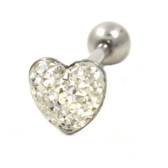 Clear Crystal Paved Heart Tongue Ring Barbell 14g 5/8""