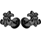 Fleur De Lis Black IP Steel Fake Plug Earrings