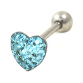 Aqua Crystal Paved Heart Tongue Ring Barbell 14g 5/8""