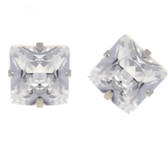 Steel Square Shaped Clear CZ Stud Earrings (8 Sizes)