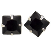 Steel Square Shaped Black CZ Stud Earrings (8 Sizes)