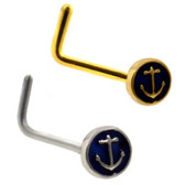 Anchor Round Top L Shaped Nose Ring Stud 20G