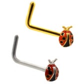 Ladybug L-Shaped Nose Ring Stud 20G