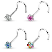 4-Color Set Gem Accent Flower Top Nose Ring Screws