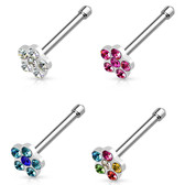 4-Color Set Gem Accent Flower Top Nose Ring Bones