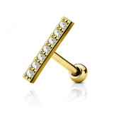 Clear CZ Lined Gold-Tone Cartilage Tragus Stud 16g
